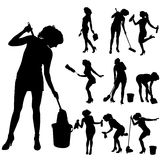 Vector silhouette of a cleaning lady. Stock Photos