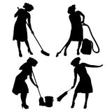 Vector silhouette of a cleaning lady. Royalty Free Stock Images