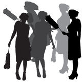 Vector silhouette of a cleaning lady. Royalty Free Stock Photo
