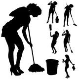 Vector silhouette of a cleaning lady. Stock Photography