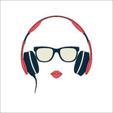 Vector silhouette of colored girl with headphones. Vector silhouette of colored girl with red headphones Royalty Free Stock Photo