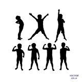 Vector silhouette of confident boy athlete showing muscles, strength concept. Set of children powerful. Vector silhouette of confident boy athlete showing his stock illustration