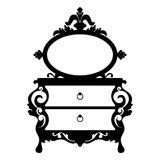 Vector silhouette of console mirror. Vector illustration of silhouette of retro dressing console and mirror in baroque style isolated on white background Royalty Free Stock Photography