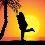 Vector silhouette of couple. Royalty Free Stock Image
