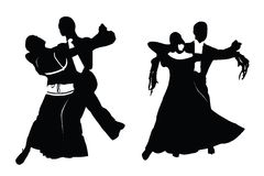 Vector silhouette of a couple dancing royalty free stock images