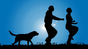 Vector silhouette of a couple with a dog. Stock Image