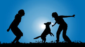 Vector silhouette of a couple with a dog. Stock Photos