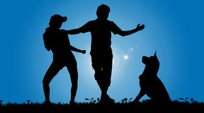 Vector silhouette of a couple with a dog. Stock Photography