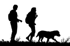 silhouette couple walking dog stock photos images