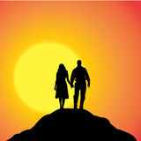 Vector silhouette of couple. Stock Images