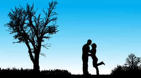 Vector silhouette of couple. Royalty Free Stock Photos