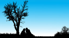Vector silhouette of couple. Stock Photos