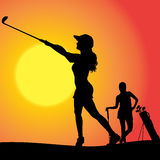 Vector silhouette of couple. Vector silhouette of couple playing golf at sunset Royalty Free Stock Image
