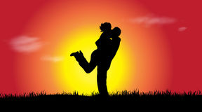 Vector silhouette of couple. Stock Photography