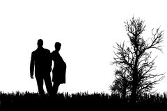 Vector silhouette of couple. Royalty Free Stock Photo