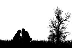 Vector silhouette of couple. Stock Photo