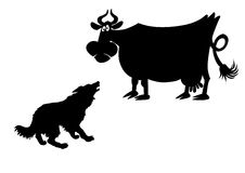 Vector silhouette of the cow Royalty Free Stock Photography
