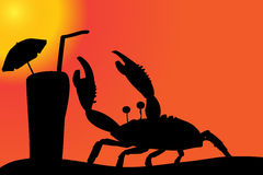 Vector silhouette of a crab. Royalty Free Stock Photos