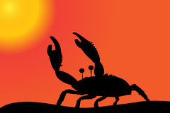 Vector silhouette of a crab. Stock Photography