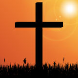 Vector silhouette of a cross. Royalty Free Stock Photo