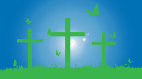 Vector silhouette of the cross. Stock Image
