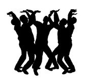 Vector silhouette of a crowd of men with their hands up Stock Photography