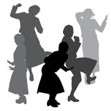 Vector silhouette of dance. Stock Images