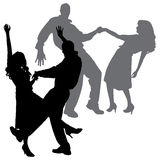 Vector silhouette of dance. Royalty Free Stock Images