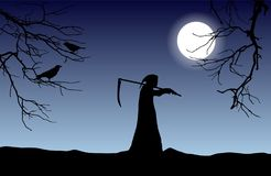 Vector silhouette of death in a hood holding a scythe over shoulder with dead tree branches and crows in front of glowing moon. vector illustration