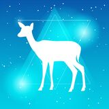Vector silhouette of deer or doe flat Illustration on a gradient sky blue backgroud with constellation of stars and triangle frame