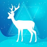 Vector silhouette of deer or doe with horns on a gradient sky blue backgroud with constellation of stars, geometrical waves and