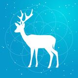 Vector silhouette of deer with horns flat Illustration on a gradient sky blue backgroud with constellation of stars and soft light