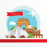 Vector silhouette of Delhi India. City skyline. Royalty Free Stock Photo