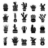 Vector silhouette of desert plants. Monochrome illustrations of decorative cactus in pots. Western icons vector illustration