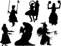Vector silhouette of the different national dances Royalty Free Stock Images