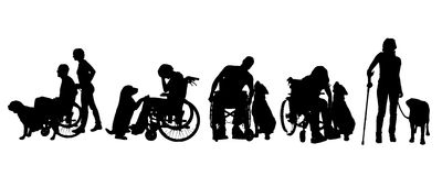 Vector silhouette of disabled people. Stock Photo