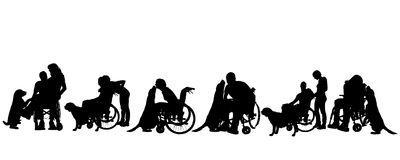 Vector silhouette of disabled people. Royalty Free Stock Photography