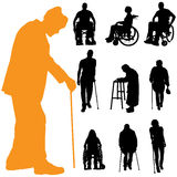 Vector silhouette of disabled people. Stock Photos