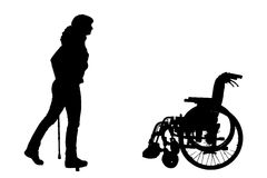 Vector silhouette of disabled woman. Royalty Free Stock Images