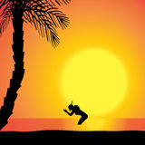 Vector silhouette of diver. Stock Photos