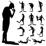 Vector silhouette of a diver. Stock Photography