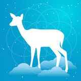 Vector silhouette of doe or deer flat Illustration on a gradient sky blue backgroud with constellation of stars, clouds and soft