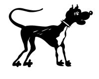 Vector silhouette dog. On white background Royalty Free Stock Photography