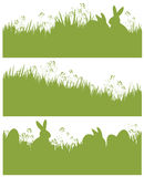 Vector silhouette  Easter spring backgrounds, rabb Stock Images