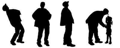Vector silhouette of an elderly man. Stock Photos