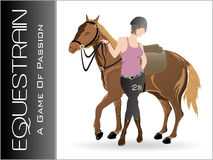 Vector silhouette equestrian sport; illustration Royalty Free Stock Photos