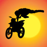 Vector silhouette of extreme jumps. Royalty Free Stock Images