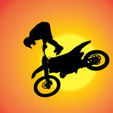 Vector silhouette of extreme jumps. Royalty Free Stock Image