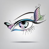 Vector silhouette of eyes with butterflies. On a gray background Stock Images