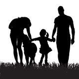 Vector silhouette of a family. Vector silhouette of a family with a dog for a walk Royalty Free Stock Images